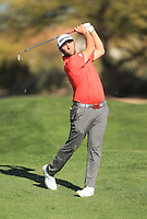 2nd February 2020, TPC Scottsdale, Arizona, USA;  Jon Rahm watches the flight of his approach shot on the second hole during the final round of the Waste Management Phoenix Open