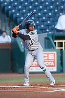 Heliot Ramos (14) of the Augusta GreenJackets at bat against the Greensboro Grasshoppers at First National Bank Field on April 10, 2018 in Greensboro, North Carolina.  The GreenJackets defeated the Grasshoppers 5-0.  (Brian Westerholt/Four Seam Images)