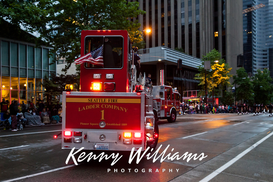Red Seatttle Fire Ladder Company Truck, Seafair Torchlight Parade 2015, Seattle, Washington State, WA, America, USA.