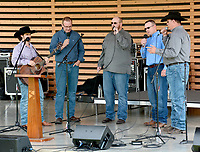Janelle Jessen/Herald-Leader<br /> The Butler Creek Boys were the first band to ever perform on the new stage in the Chautauqua Amphitheater on Saturday.