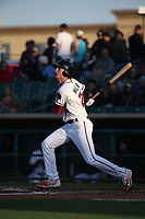 Sam Hilliard (25) of the Lancaster JetHawks bats against the Stockton Ports at The Hanger on May 12, 2017 in Lancaster, California. Lancaster defeated Stockton, 7-2. (Larry Goren/Four Seam Images)