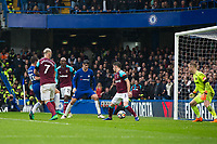 Chelsea's Cesar Azpilicueta (obscured) scores the opening goal <br /> <br /> Photographer Craig Mercer/CameraSport<br /> <br /> The Premier League - Chelsea v West Ham United - Sunday 8th April 2018 - Stamford Bridge - London<br /> <br /> World Copyright &copy; 2018 CameraSport. All rights reserved. 43 Linden Ave. Countesthorpe. Leicester. England. LE8 5PG - Tel: +44 (0) 116 277 4147 - admin@camerasport.com - www.camerasport.com
