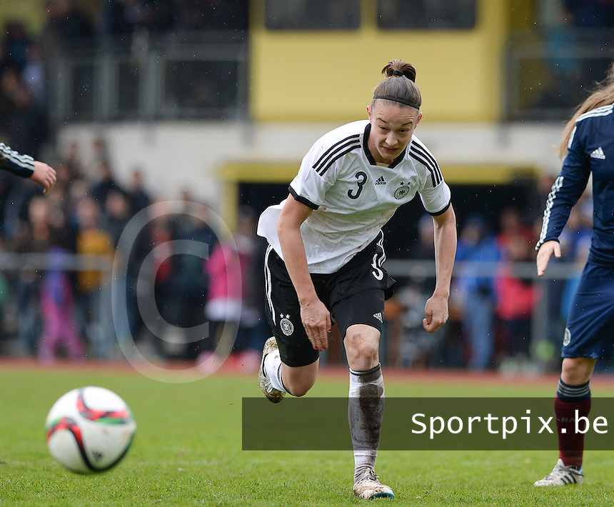 20150404 - FORST , GERMANY  : German Felicitas Rauch pictured during the soccer match between Women Under 19 teams of Germany and Scotland , on the first matchday in group 5 of the UEFA Elite Round Women Under 19 at WaldseeStadion , Forst , Germany . Saturday 4th April 2015 . PHOTO DAVID CATRY