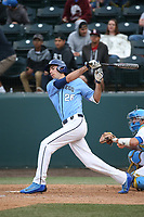 Aidan Stinnett (26) of the University of San Diego Toreros bats against the UCLA Bruins at Jackie Robinson Stadium on March 4, 2017 in Los Angeles, California.  USD defeated UCLA, 3-1. (Larry Goren/Four Seam Images)