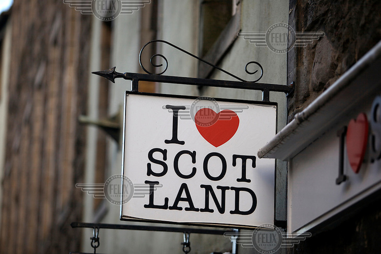 A souvenir shop sign above a shop on the Royal Mile, the main thoroughfare in the city of Edinburgh..