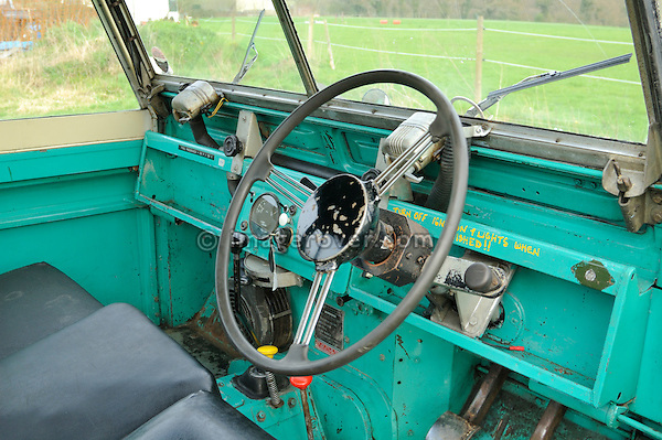 Interior of 1958 2.0 Liter Diesel Land Rover Series 2 SWB 88 recovery truck with Harvey Frost crane in very original condition with two colour paint sheme in light blue and white showing the golden company name Handman & Collis Recovery. UK 2005 Dunsfold.