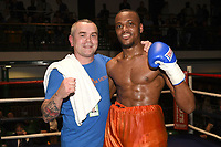 Germaine Brown (red shorts) defeats Nathan Halton during a Boxing Show at York Hall on 14th April 2018