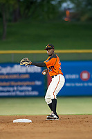 AZL Giants second baseman Robert Antunez (34) on defense against the AZL Athletics on August 5, 2017 at Scottsdale Stadium in Scottsdale, Arizona. AZL Athletics defeated the AZL Giants 2-1. (Zachary Lucy/Four Seam Images)