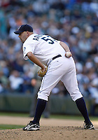 04 October 2009: Seattle Mariners closer David Aardsma came into the ninth inning to close the door on the Texas Rangers. Seattle won 4-3 over the Texas Rangers at Safeco Field in Seattle, Washington.