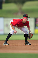 Kannapolis Intimidators third baseman Cody Daily (37) on defense against the Hagerstown Suns at CMC-Northeast Stadium on August 16, 2015 in Kannapolis, North Carolina.  The Suns defeated the Intimidators 4-3 in game two of a double-header.  (Brian Westerholt/Four Seam Images)