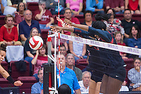 STANFORD, CA - September 9, 2016: Inky Ajanaku at Maples Pavilion. The Purdue Boilermakers defeated the Stanford Cardinal 3 - 2.