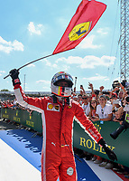 SEBASTIAN VETTEL (GER) of Scuderia Ferrari celebrates his win during The Formula 1 2018 Rolex British Grand Prix at Silverstone Circuit, Northampton, England on 8 July 2018. Photo by Vince  Mignott.