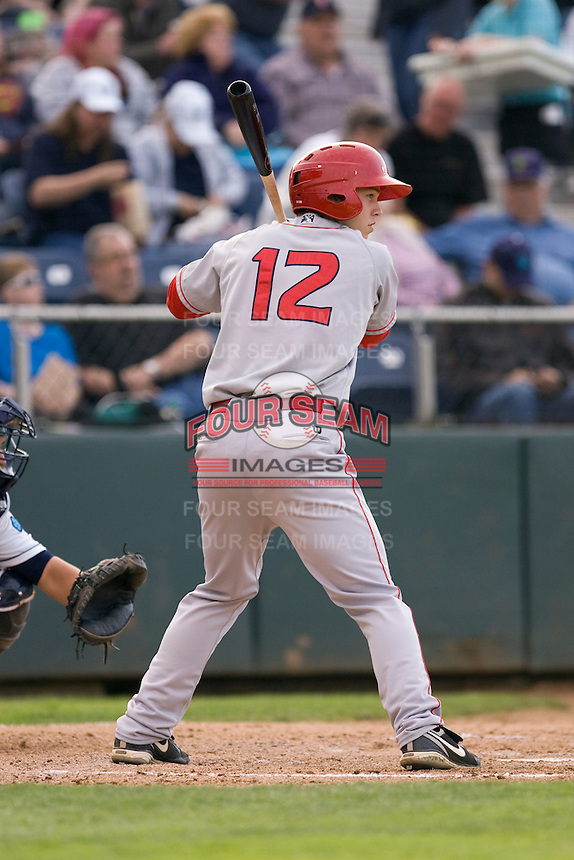 Spokane Indians second baseman Cam Schiller #12 at bat during a game against the Everett AquaSox at Everett Memorial Stadium on June 20, 2012 in Everett, WA.  Everett defeated Spokane 9-8 in 13 innings.  (Ronnie Allen/Four Seam Images)