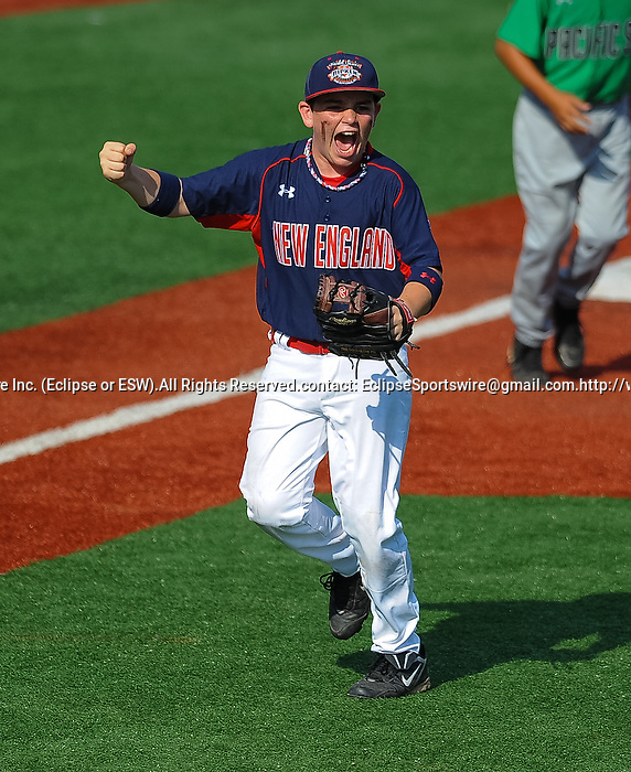 Newtown(CT)'s Lucas O'Brien celebrates during the Cal Ripken Babe Ruth World Series in Aberdeen, Maryland on August 12, 2012. Newtown defeated Mililani(HI) 8-5.