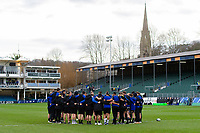 The Bath Rugby team huddle together prior to the match. Heineken Champions Cup match, between Bath Rugby and Wasps on January 12, 2019 at the Recreation Ground in Bath, England. Photo by: Patrick Khachfe / Onside Images