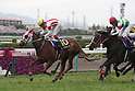 (L-R) Reine Minoru (Kenichi Ikezoe), Lys Gracieux (Yutaka Take),<br /> APRIL 9, 2017 - Horse Racing :<br /> Reine Minoru ridden by Kenichi Ikezoe wins the Oka Sho (Japanese 1000 Guineas) at Hanshin Racecourse in Hyogo, Japan. (Photo by Eiichi Yamane/AFLO)
