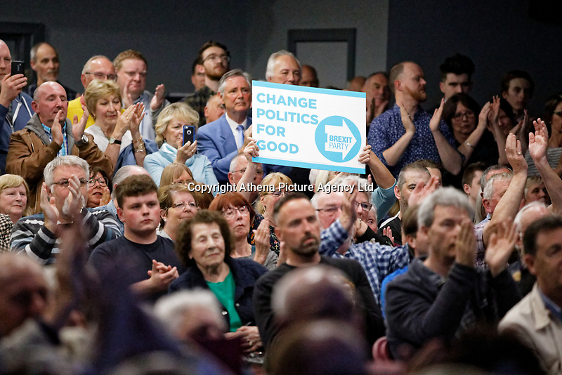 Pictured: Party supporters in the venue.  Tuesday 30 April 2019<br /> Re: Nigel Farage and Anne Widdecombe at the Brexit Party rally at The Neon in Clarence Place in Newport, south Wales, UK.