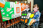 Darragh Moriarty and Saoirse Moriarty. with their 1916 Easter Project at the Connolly Park celebration of the 1916 Rising on Monday.