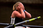 A rower from the University of Connecticut reacts after crossing the finish line in the Women's JV Heavyweight Eight Final during the 68th Dad Vail Regatta on the Schuylkill River in Philadelphia, Pennsylvania on May 13, 2006............