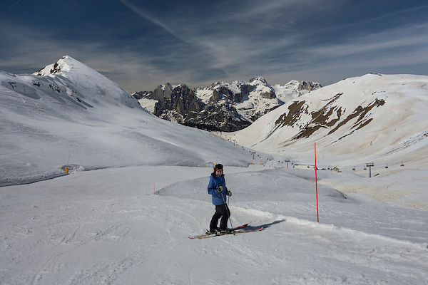 Woman skiing at Ciampac Ski Area, Dolomites, Canazei, Italy, .  John offers private photo tours in Denver, Boulder and throughout Colorado, USA.  Year-round. .  John offers private photo tours in Denver, Boulder and throughout Colorado. Year-round.