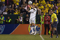 LA Galaxy midfielder David Beckham with a corner headball. The LA Galaxy defeated Chivas USA 1-0 and win the playoff series during a MLS Western Conference playoff game at Home Depot Center stadium in Carson, California on Sunday November 1, 2009...