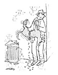 (A criminal shakes the coins out of a dog's collection box while it is still attached to the dog)