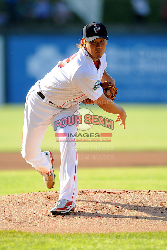 Boston Red Sox pitcher Daisuke Matsuzaka #18 during a rehabilitation start for the Pawtucket Red Sox versus the Columbus Clippers at McCoy Stadium in Pawtucket, Rhode Island on May 12, 2012.  (Ken Babbitt/Four Seam Images)