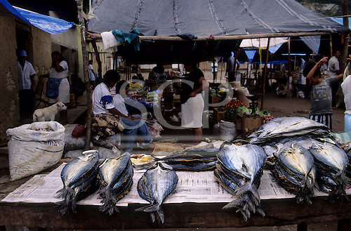 Peru. Dried fish, vegetables and other goods sold on market.