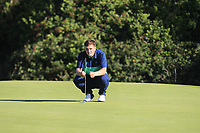 James Sugrue from Ireland on the 16th green during Round 1 Singles of the Men's Home Internationals 2018 at Conwy Golf Club, Conwy, Wales on Wednesday 12th September 2018.<br /> Picture: Thos Caffrey / Golffile<br /> <br /> All photo usage must carry mandatory copyright credit (&copy; Golffile | Thos Caffrey)