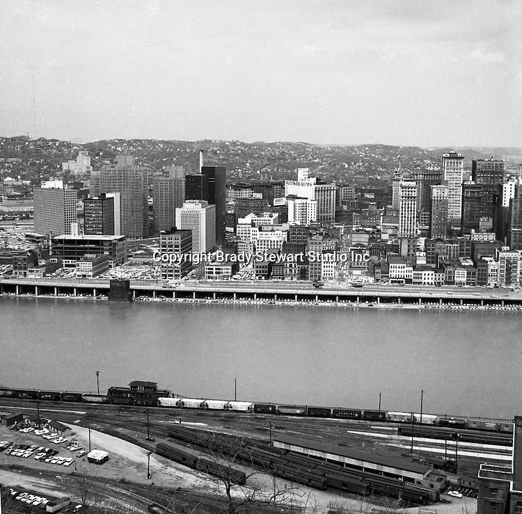 Pittsburgh PA:  View of the Pittsburgh and the Monongahela Wharf from Mount Washington - 1962