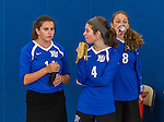 18 October 2015: Yeshiva University Maccabee Outside Hitter, Setter and team co-Captain Shana Wolfstein (4), a Senior from Burlington, VT, has a banana for a snack prior to a game against the College of Mount Saint Vincent Dolphins at the Peter Sharp Center, in Riverdale, NY. The Dolphins defeated the Maccabees 3-0 in the NCAA Division III Women's Volleyball Skyline matchup. Mandatory Credit: Ed Wolfstein Photo *** RAW (NEF) Image File Available ***
