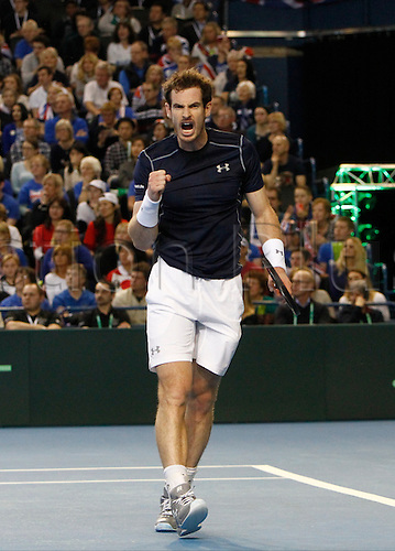 06.03.2016. Barclaycard Arena, Birmingham, England. Davis Cup Tennis World Group First Round. Great Britain versus Japan. Great Britain's Andy Murray celebrates hitting a winner during his singles match against Japan's Kei Nishikori on day 3 of the tie.