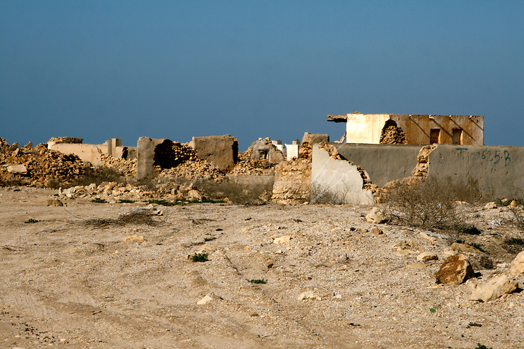 Ruins of an old deserted fishing and pearling village, Al Zubarah, on the West Coast of  Qatar, on the Arabian Peninsula   Jan 10