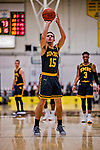 23 January 2019: UMBC Retriever Guard Jose Placer, a Freshman from Orlando, FL, shoots a foul shot in the final moments of second half action against the University of Vermont Catamounts at Patrick Gymnasium in Burlington, Vermont. The Retrievers handed the Catamounts their first America East loss of the season 74-61. Mandatory Credit: Ed Wolfstein Photo *** RAW (NEF) Image File Available ***