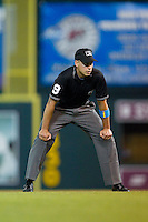 Third base umpire Paul Clemons during the Eastern League game between the New Hampshire Fisher Cats and the Richmond Flying Squirrels at The Diamond on June 13, 2014 in Richmond, Virginia.  The Fisher Cats defeated the Flying Squirrels 6-3.  (Brian Westerholt/Four Seam Images)