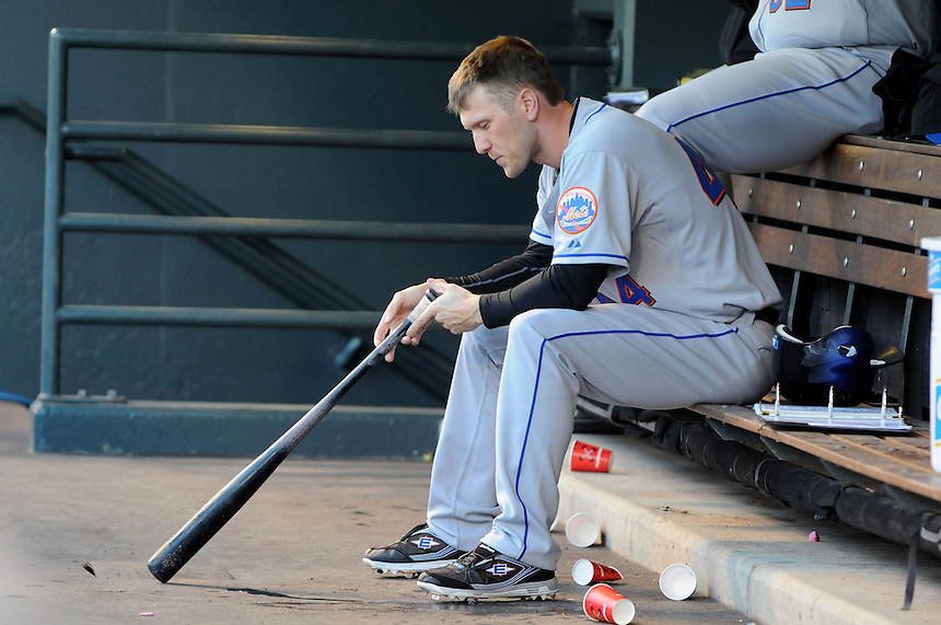 13 April 2010: New York Mets left fielder Jason Bay during a regular season Major League Baseball game between the Colorado Rockies and the New York Mets at Coors Field in Denver,  Colorado. The Rockies defeated the Mets 11-3.  *****For Editorial Use Only*****