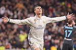 Real Madrid's Cristiano Ronaldo celebrating a goal during La Liga match between Real Madrid and Real Sociedad at Santiago Bernabeu Stadium in Madrid, Spain. January 29, 2017. (ALTERPHOTOS/BorjaB.Hojas)