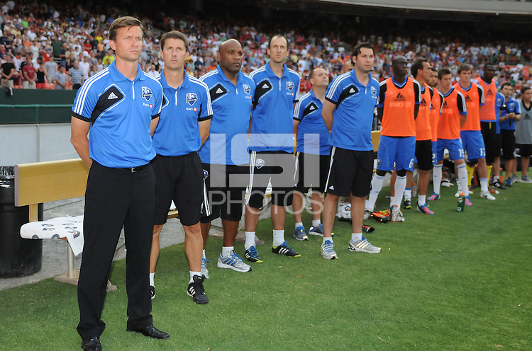 Montreal Impact head coach Jesse Marsch with staff. D.C. United defeated Montreal Impact 3-0 at RFK Stadium, Saturday June 30, 2012.