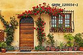Tom Mackie, LANDSCAPES, LANDSCHAFTEN, PAISAJES, photos,+Rose-covered Door, Montepulciano, Tuscany, Italy,Europa, Europe, Italia, Italian, Italy, Montepulciano, Toscana, Tuscan, Tusc+any, door, doors, flower, flowerpot, flowers, horizontal, horizontals, rose, roses, rustic, window, windows+++,GBTM120054-1,#l#, EVERYDAY