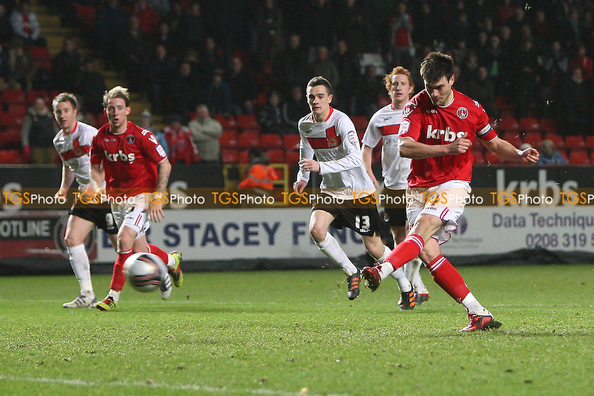 Johnnie Jackson of Charlton Athletic scores the second goal for his team from the penalty spot - Charlton Athletic vs MK Dons - nPower League One Football at The Valley, London - 14/02/12 - MANDATORY CREDIT: Gavin Ellis/TGSPHOTO - Self billing applies where appropriate - 0845 094 6026 - contact@tgsphoto.co.uk - NO UNPAID USE.