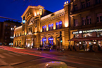 Central Europe, Hungary, Budapest 2007/04. Light trail in front of a beautiful old market Hall on Batthyany ter.