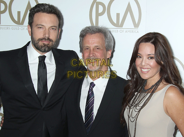 Ben Affleck & guests.At the 24th Annual Producers Guild Awards held at the Beverly Hilton Hotel, Beverly Hills, California, USA,.26th January 2013..PGAs PGA arrivals half length black beige white shirt tie suit beard facial hair  .CAP/ADM/RE.©Russ Elliot/AdMedia/Capital Pictures.