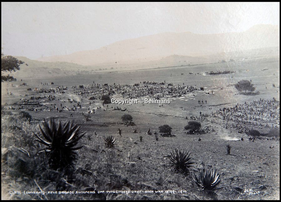 BNPS.co.uk (01202 558833)<br /> Pic: Bellmans/BNPS<br /> <br /> The Rifle Brigade at Potgieter's Drift, Tugela River, the day before the attack on Vaal Krantz.<br /> <br /> A rare and extraordinary photo album documenting a British army regiment before, during and after the Boer War has been discovered after more than 100 years.<br /> <br /> The album contains more than 150 black and white images of the First Battalion, Rifle Brigade and provide a fascinating record of their battles with the Boers in South Africa from 1899 to 1902.<br /> <br /> The annotated images show a large parade of men before embarking on a ship on the Isle of Wight to take them to South Africa in 1899 followed by famous battles they were involved in when they got there.<br /> <br /> The action highlighted took place at Ladysmith, Spion Kop and St. Pieters.