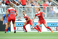Boyds, MD - Saturday August 12, 2017: Meggie Dougherty Howard, Estelle Johnson, Tori Huster during a regular season National Women's Soccer League (NWSL) match between the Washington Spirit and The Boston Breakers at Maureen Hendricks Field, Maryland SoccerPlex.