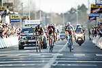 Greg Van Avermaet (BEL) BMC Racing Team outsprints  Philippe Gilbert (BEL) Quick-Step Floors and Oliver Naesen (BEL) AG2R La Mondiale to win the 60th edition of the Record Bank E3 Harelbeke 2017, Flanders, Belgium. 24th March 2017.<br /> Picture: Jim Fryer/BrakeThrough Media | Cyclefile<br /> <br /> <br /> All photos usage must carry mandatory copyright credit (&copy; Cyclefile | Yuzuru Sunada)