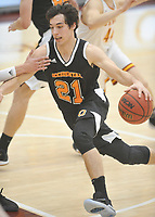 #21 Caleb Yellin-Flaherty<br /> The Occidental College men's basketball team plays against Claremont-Mudd-Scripps in the SCIAC Semi Final game on Friday, January 22, 2019 in Claremont.<br /> Oxy won, 64-62 in overtime and will go on to the final championship against Pomona-Pitzer on Saturday.<br /> (Photo by John Valenzuela, Freelance Photographer)
