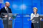 BRUSSELS - BELGIUM - 13 December 2019 -- EU-Summit with Heads of State - European Council meeting - Presidency of Finland. -- Charles Michel, President of the European Council and Ursula von Der Leyen, President of the European Commission during the press conference  -- PHOTO: Juha ROININEN / EUP-IMAGES