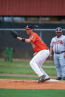 GCL Astros first baseman Connor MacDonald (68) stretches for a throw during a game against the GCL Braves on July 23, 2015 at the Osceola County Stadium Complex in Kissimmee, Florida.  GCL Braves defeated GCL Astros 4-2.  (Mike Janes/Four Seam Images)