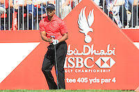 Tiger Woods (USA) in action on the 1st tee during Sunday's Final Round of the HSBC Golf Championship at the Abu Dhabi Golf Club, United Arab Emirates, 29th January 2012 (Photo Eoin Clarke/www.golffile.ie)