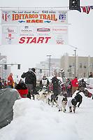Ramey Smyth leaves the 2011 Iditarod ceremonial start line in downtown Anchorage, during the 2012 Iditarod..Jim R. Kohl/Iditarodphotos.com